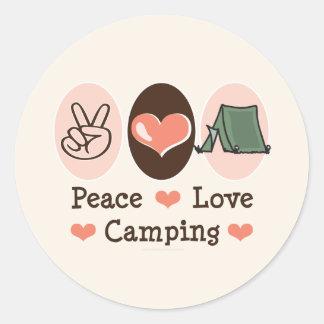 Pegatinas que acampan del amor de la paz