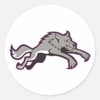 Pegatinas que atacan del lobo pegatinas redondas