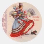 Pegatinas que hacen compras del navidad pasado de pegatina redonda
