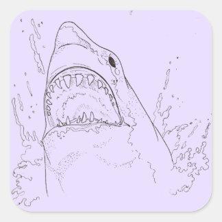 Pegatinas Quebrado-Hearted del tiburón Pegatina Cuadrada