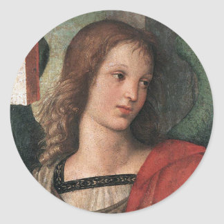 Pegatinas Raffaello Sanzio del ángel del navidad Pegatina Redonda