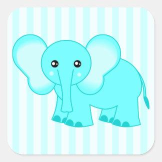 Pegatinas rayados del elefante lindo del bebé azul