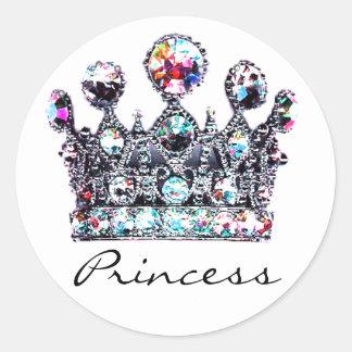 Pegatinas reales de la Princesa Real Pegatina Redonda