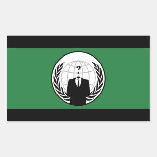 Pegatinas rectangulares de la bandera anónima pegatina rectangular