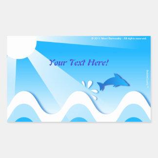 Pegatinas rectangulares del mar del delfín (su pegatina rectangular