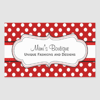 Pegatinas rectangulares del negocio rojo retro del rectangular pegatina