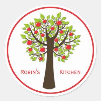 Pegatinas red delicious de la cocina del manzano pegatina redonda