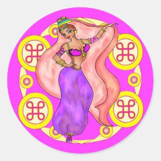 Pegatinas redondos - bailarina de la danza del pegatina redonda