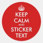 Pegatinas redondos de KeepCalm el | Personalizable Pegatina Redonda