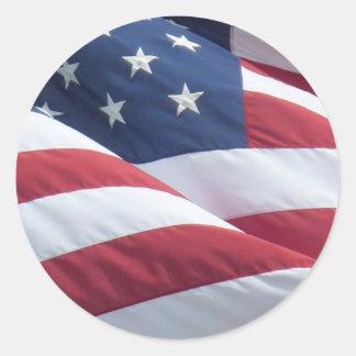 Pegatinas redondos de la bandera americana