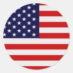 Pegatinas redondos de la bandera americana etiquetas redondas