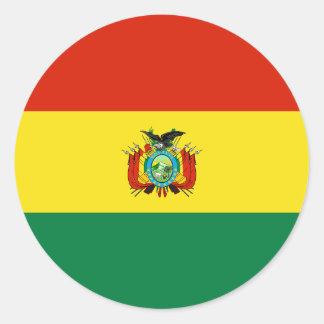 Pegatinas redondos de la bandera de Bolivia Pegatina Redonda