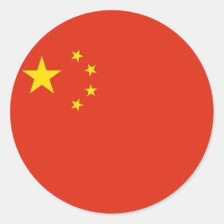 Pegatinas redondos de la bandera de China Pegatina Redonda
