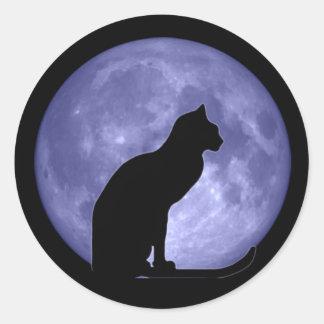 Pegatinas redondos de la luna azul del gato negro pegatina redonda