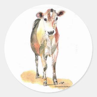 pegatinas redondos de la vaca marrón pegatina redonda