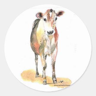 pegatinas redondos de la vaca marrón etiquetas redondas