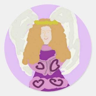 Pegatinas redondos del ángel púrpura pegatina redonda