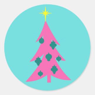 Pegatinas redondos del árbol de navidad rosado pegatina redonda