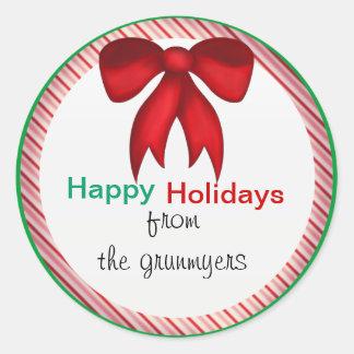 Pegatinas redondos del arco del caramelo del navid