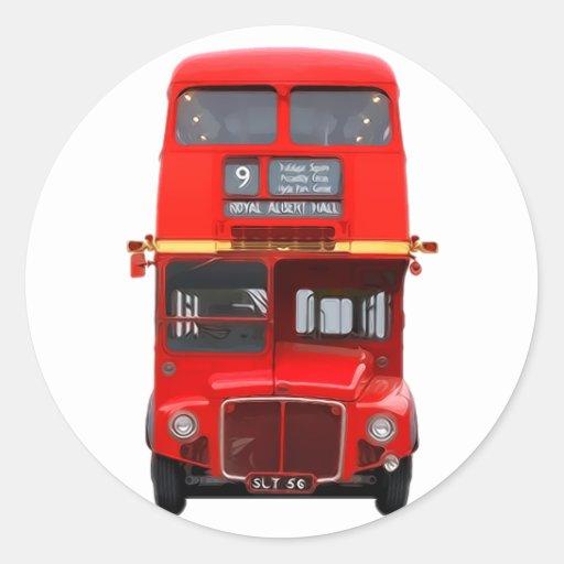 Pegatinas redondos del autobús rojo de Londres Pegatina Redonda