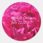 Pegatinas redondos del boda del Peony rosado Pegatina Redonda