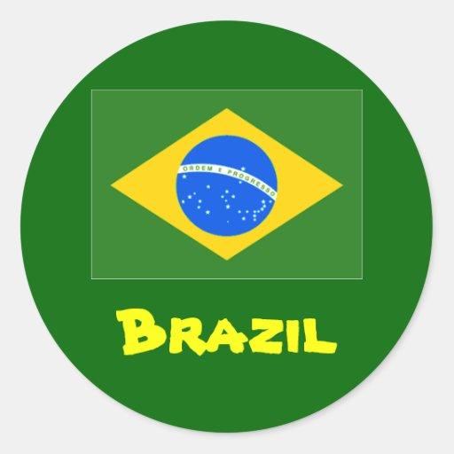 Pegatinas redondos del Brasil Etiqueta Redonda