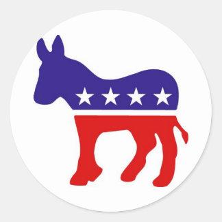 Pegatinas redondos del burro del fiesta Democratic Pegatina Redonda