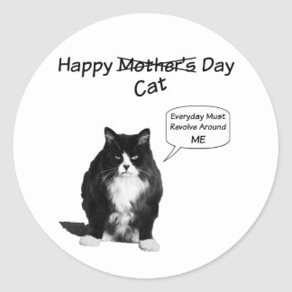 Pegatinas redondos del día gruñón de Cat Mother Pegatina Redonda