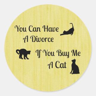 Pegatinas redondos del divorcio divertido del gato pegatina redonda