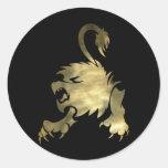 Pegatinas redondos del león de Leo del oro