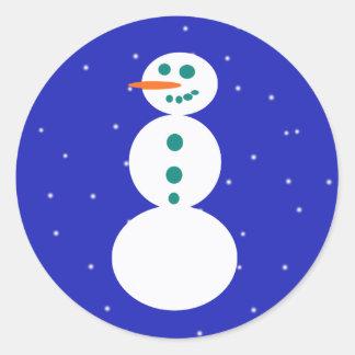 Pegatinas redondos del muñeco de nieve retro pegatina redonda