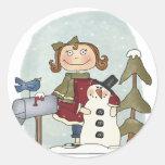 Pegatinas redondos del muñeco de nieve y del chica pegatina redonda