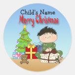 Pegatinas redondos del niño pequeño del navidad etiqueta redonda