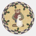 Pegatinas redondos del oso y del muñeco de nieve etiquetas redondas
