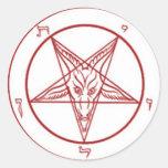 Pegatinas redondos del pentagram de Bahpomet Etiquetas Redondas