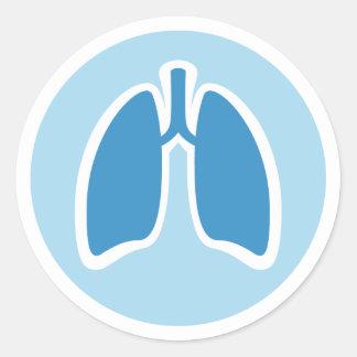 Pegatinas redondos del pulmón del pulmonologist de etiquetas redondas