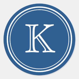 Pegatinas redondos del sello del monograma azul y pegatinas redondas