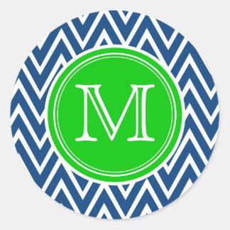 Pegatinas redondos del sello del monograma verde y pegatina redonda
