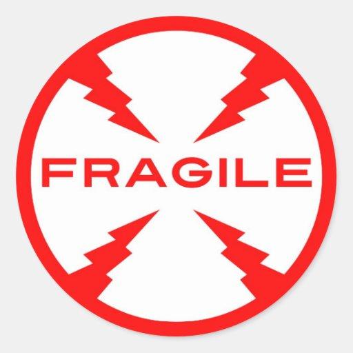 Pegatinas redondos del símbolo frágil pegatina redonda
