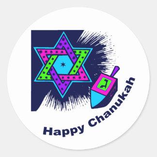 Pegatinas redondos felices de Chanukah