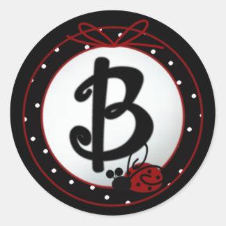 Pegatinas redondos iniciales de la mariquita B Pegatina Redonda