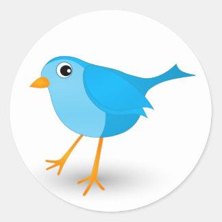Pegatinas redondos lindos del pequeño pájaro azul pegatina redonda
