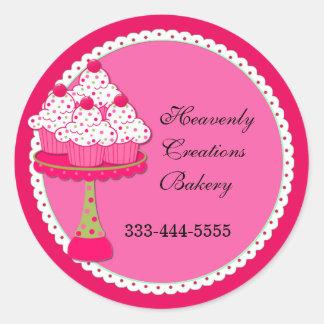 Pegatinas redondos rosados dulces de la panadería