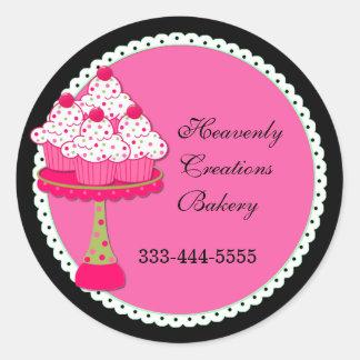Pegatinas redondos rosados dulces de la panadería pegatina redonda