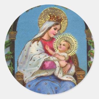 Pegatinas religiosos de Jesús del Virgen María y Etiquetas Redondas