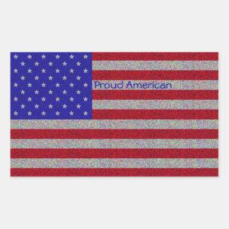 Pegatinas relucientes de la bandera americana rectangular altavoces
