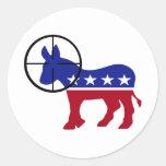 Pegatinas republicanos del tiro de la cabeza del etiqueta redonda