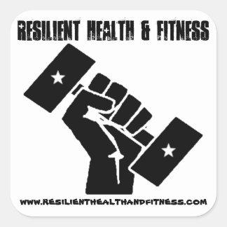 Pegatinas resistentes de la salud y de la aptitud pegatina cuadrada
