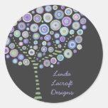 Pegatinas retros azules del árbol del círculo de pegatinas redondas