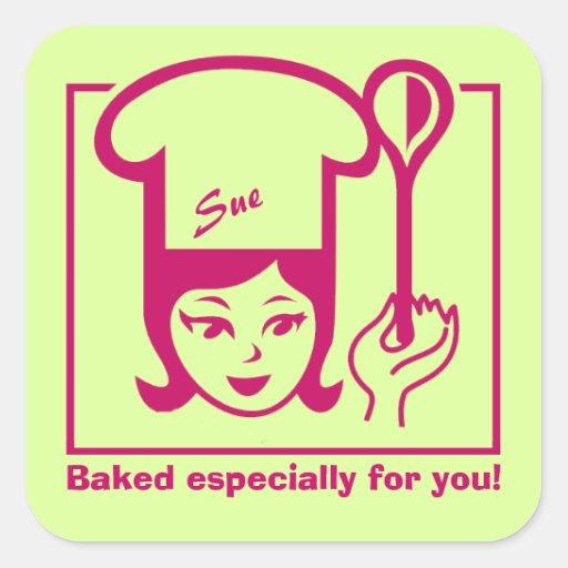 """Pegatinas retros de """"Bakergirl"""" para la repostería Pegatina Cuadrada"""